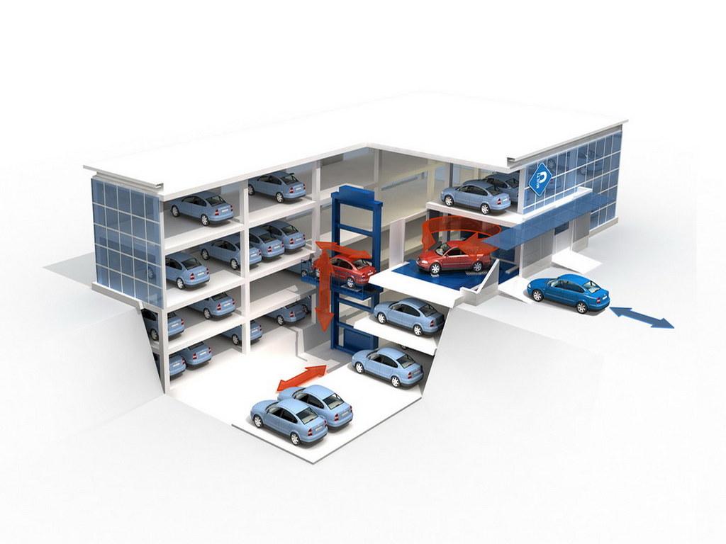 Визуализация модели автоматизированных паркингов №1